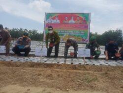 Bupati Sukiman bersama Kapolres Rohul Tanam Bibit Bawang Merah di  Desa persiapan Mahato Cindur jaya